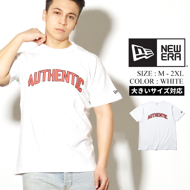 NEW ERA ニューエラ 半袖 コットン Tシャツ ホワイト AUTHENTIC オーセンティックロゴ 8ozコットン 12325189