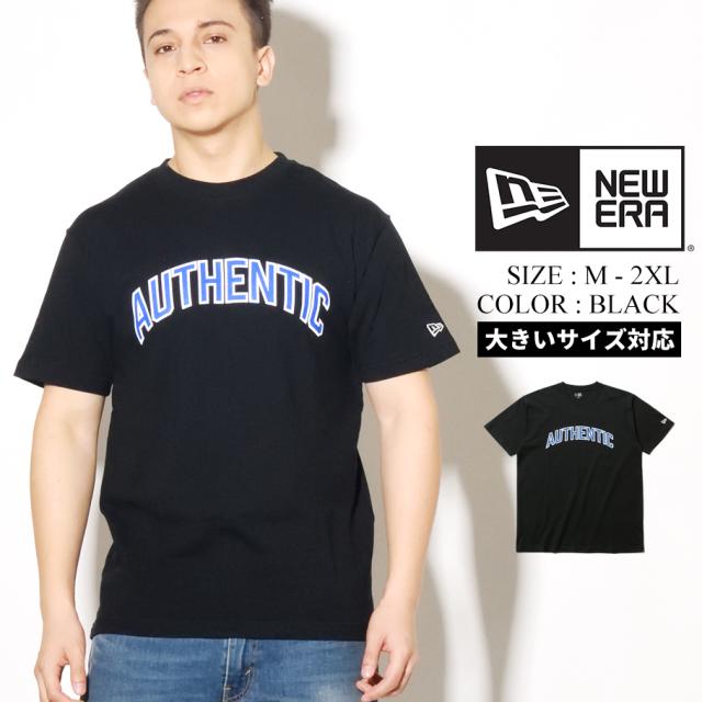 NEW ERA ニューエラ 半袖 コットン Tシャツ ブラック AUTHENTIC オーセンティックロゴ 8ozコットン 12325190