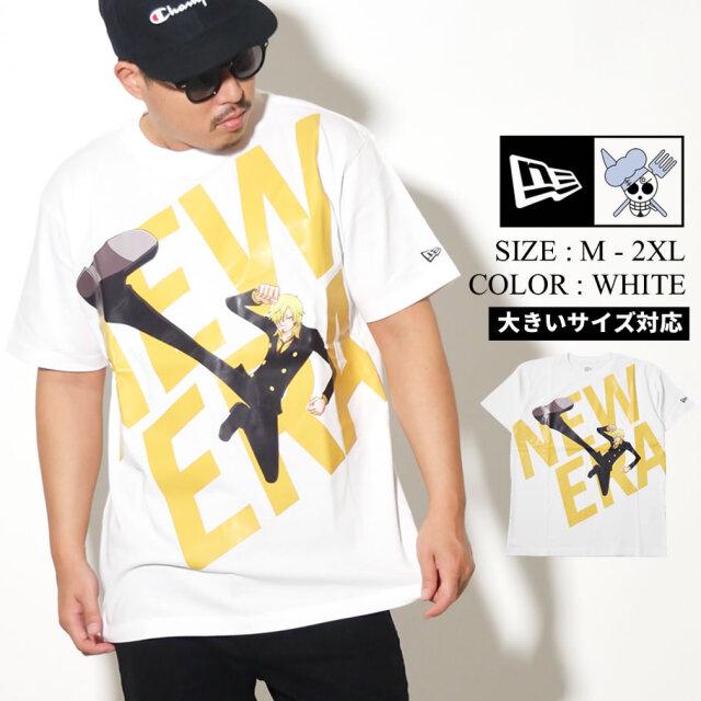 NEW ERA ニューエラ 半袖 コットン Tシャツ ONE PIECE ワンピース サンジ ワイドロゴ ホワイト レギュラーフィット 12542576