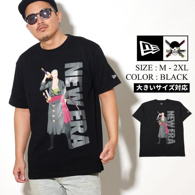 NEW ERA ニューエラ 半袖 コットン Tシャツ ONE PIECE ワンピース ロロノア・ゾロ ブラック レギュラーフィット 12542579