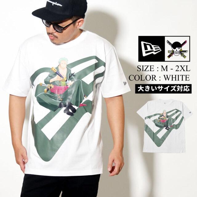 NEW ERA ニューエラ 半袖 コットン Tシャツ ONE PIECE ワンピース ロロノア・ゾロ ズームアップロゴ ホワイト レギュラーフィット 12542574