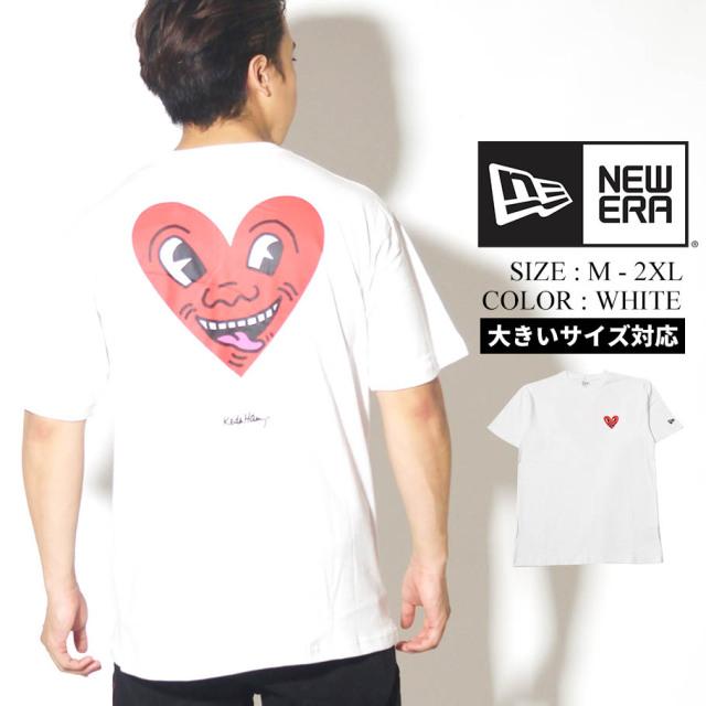 NEW ERA ニューエラ 半袖 コットン Tシャツ Keith Haring キース・へリング ハート ホワイト レギュラーフィット 12550926