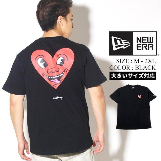 NEW ERA ニューエラ 半袖 コットン Tシャツ Keith Haring キース・へリング ハート ブラック レギュラーフィット 12550927