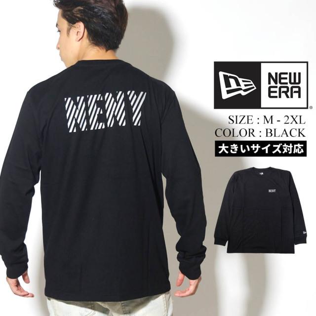NEW ERA ニューエラ 長袖 コットン Tシャツ リフレクター NENY ロゴ ブラック レギュラーフィット 12542683