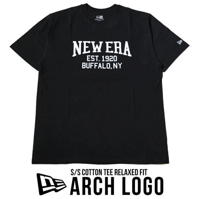 ニューエラ Tシャツ メンズ 半袖 NEW ERA コットンTシャツ リラックスフィット アーチロゴ ブラック 12674151