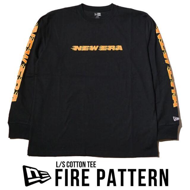 ニューエラ ロンT 長袖Tシャツ NEW ERA コットンTシャツ ファイアーパターン レギュラーフィット ブラック 12674290