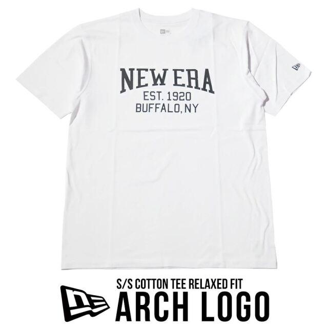 ニューエラ Tシャツ メンズ 半袖 NEW ERA コットンTシャツ リラックスフィット アーチロゴ ホワイト 12674150