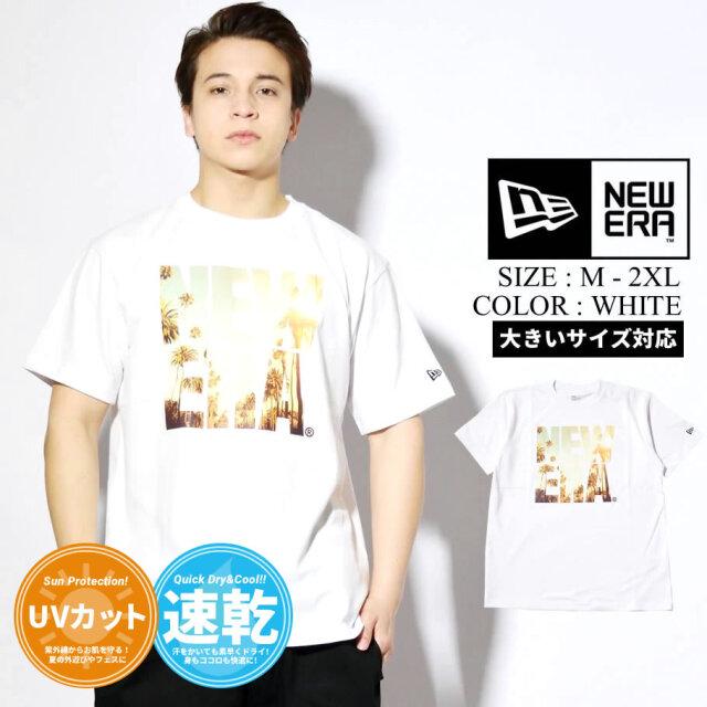 ニューエラ NEW ERA 速乾Tシャツ メンズ 半袖 UVカット 紫外線対策 パフォーマンスTシャツ ランドスケープ スクエアニューエラ ホワイト 2021 春夏 新作