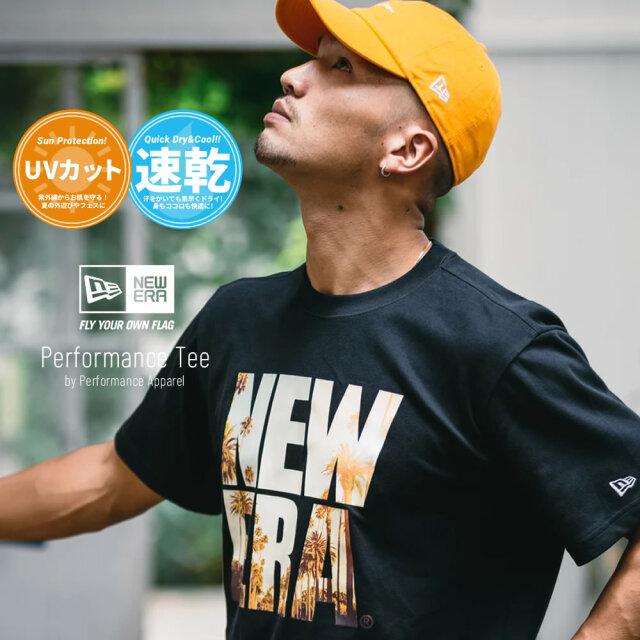 ニューエラ NEW ERA 速乾Tシャツ メンズ 半袖 UVカット 紫外線対策 パフォーマンスTシャツ ランドスケープ スクエアニューエラ ブラック 2021 春夏 新作
