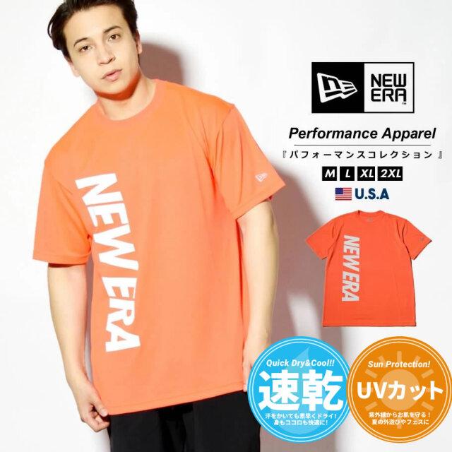 ニューエラ NEW ERA 速乾Tシャツ メンズ 半袖 抗菌 UVカット 紫外線対策 バーチカルロゴ ネオンレッド 2021S/S 春 夏 新作