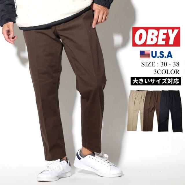 OBEY オベイ パンツ メンズ 大きいサイズ STRAGGLER FLOODED PANTS ストリート系 ヒップホップ ファッション 142020113 服 通販