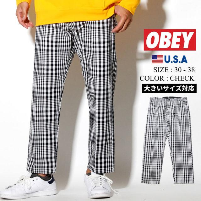 OBEY オベイ パンツ メンズ 大きいサイズ チェック柄 STRAGGLER PLAID FLOODED PANT ストリート系 ヒップホップ ファッション 142020126 服 通販