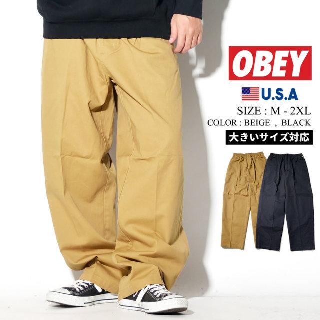 OBEY オベイ ワイドパンツ メンズ ロゴ ストリート系 ファッション 服 通販 142020142
