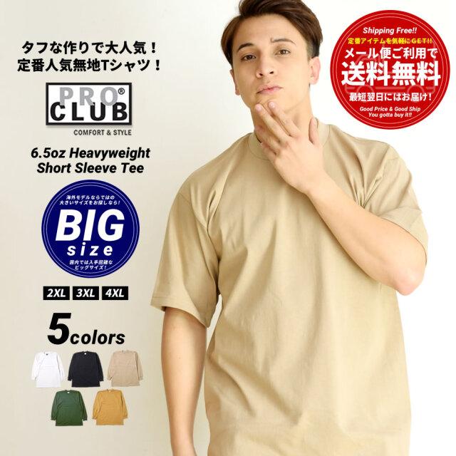 (BIGサイズ)プロクラブ Tシャツ メンズ 半袖 ヘビーウェイト 無地 シンプル ブランド 大きいサイズ USAモデル PRO CLUB #101 2XL~4XL