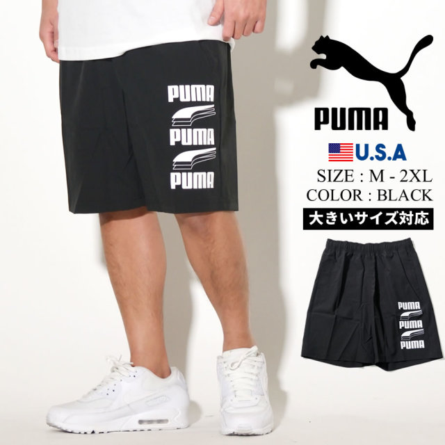 PUMA プーマ ハーフパンツ メンズ ロゴ REBEL Woven Shorts 9 01 BLACK 581372