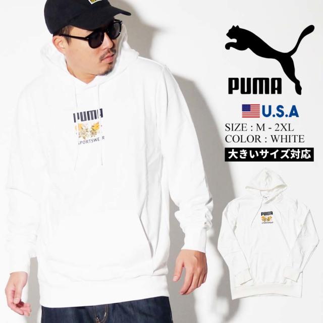 PUMA プーマ パーカー メンズ 大きいサイズ ネームロゴ 花 スポーツ ストリート系 ファッション 596726 服 通販