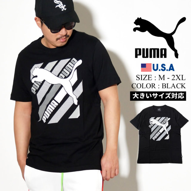 PUMA プーマ 半袖 Tシャツ メンズ ロゴ CAT BRAND LOGO TEE 01 PUMA BLACK 581909