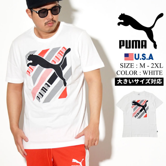 PUMA プーマ 半袖 Tシャツ メンズ ロゴ CAT BRAND LOGO TEE 02 PUMA WHITE 581909