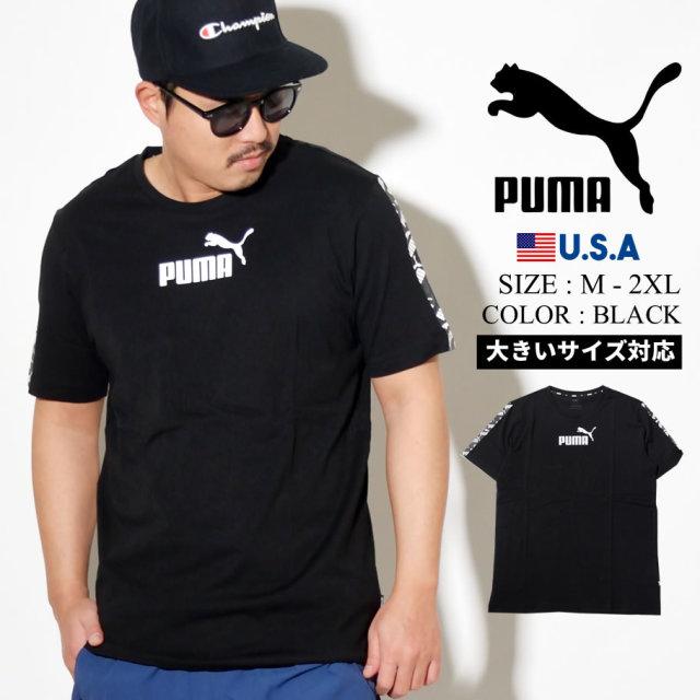 PUMA プーマ 半袖 Tシャツ メンズ ロゴ AMPLIFIED TEE ブラック 581384