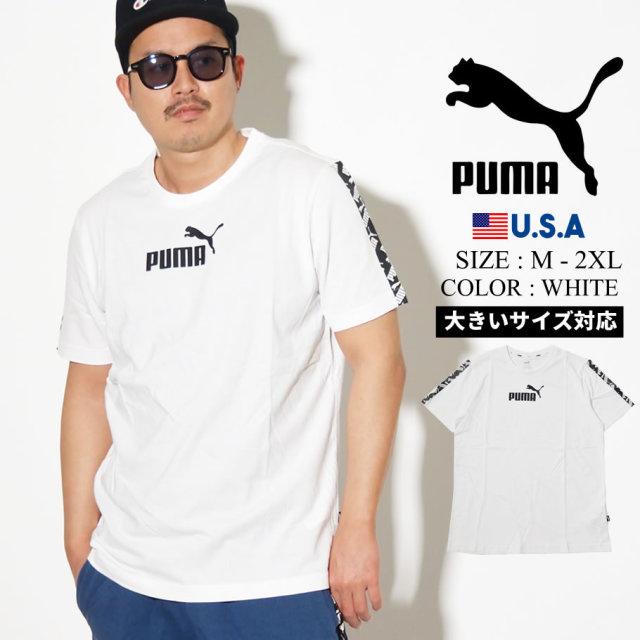PUMA プーマ 半袖 Tシャツ メンズ ロゴ AMPLIFIED TEE ホワイト 581384