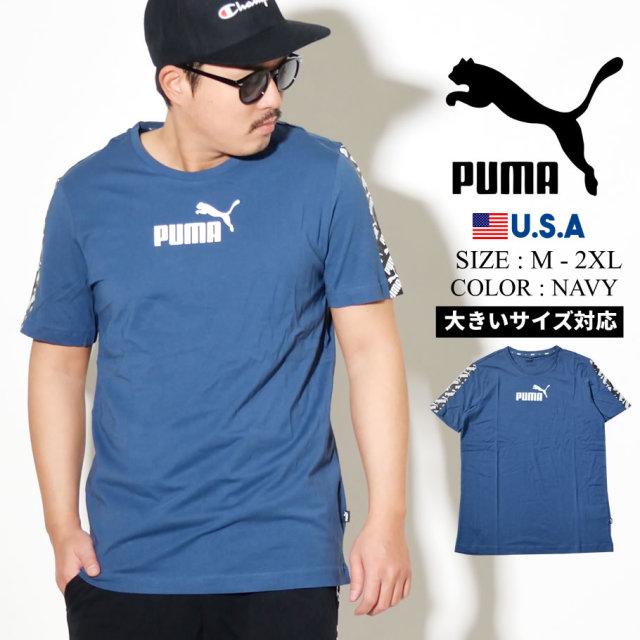 PUMA プーマ 半袖 Tシャツ メンズ ロゴ AMPLIFIED TEE ネイビー 581384