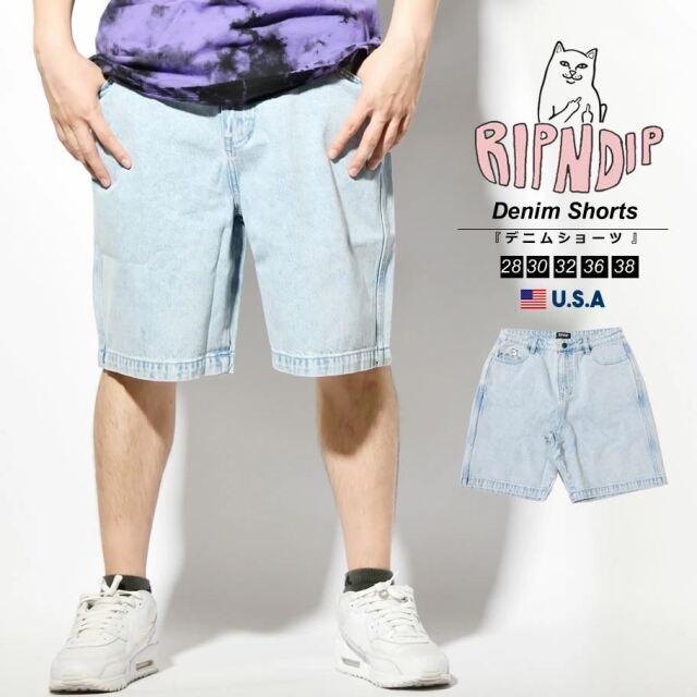 RIPNDIP リップンディップ ハーフパンツ メンズ デニム ショーツ 猫 ネコ ブランド USAモデル La Brea Denim Shorts RND4927