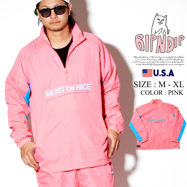 RIPNDIP リップンディップ ハーフジップ トラックジャケット メンズ フード付き ストリート系 ファッション Run It Nylon Track Jacket 服 通販
