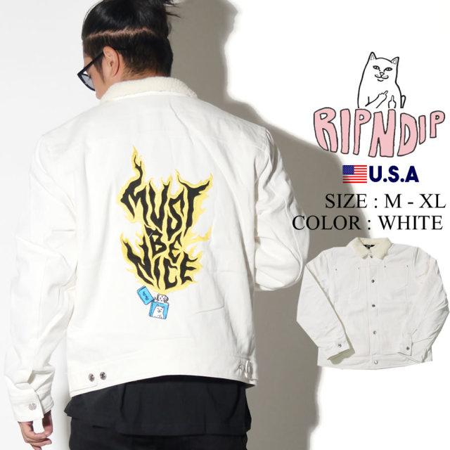 RIPNDIP リップンディップ デニムジャケット メンズ レディース 猫 ネコ バックプリント ストリート系 ファッション Lit AF Denim Jacket 服 通販