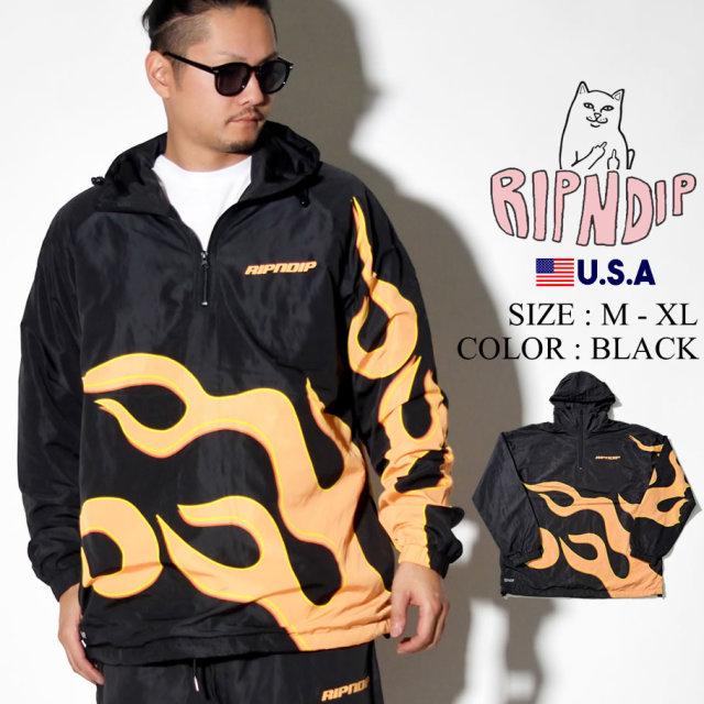 ripndip リップンディップ ハーフジップジャケット メンズ ファイヤー ロゴ ストリート系 ファッション RND3706 服 通販