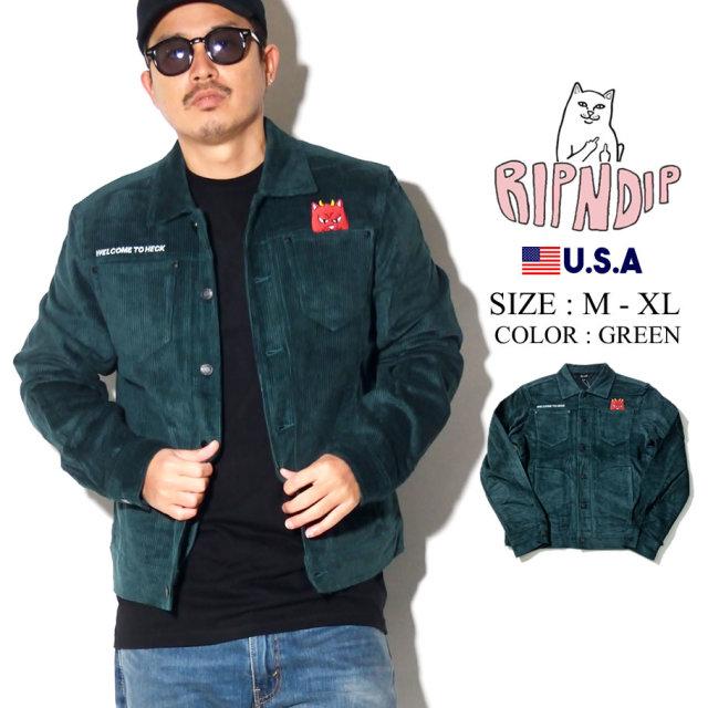 ripndip リップンディップ コーデュロイジャケット メンズ 猫 ネコ ファイヤー ストリート系 ファッション RND3901 服 通販