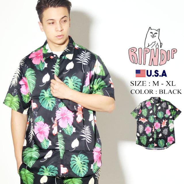 RIPNDIP リップンディップ 半袖シャツ ボタニカル 花柄 Maui Nerm Button Up RND4310