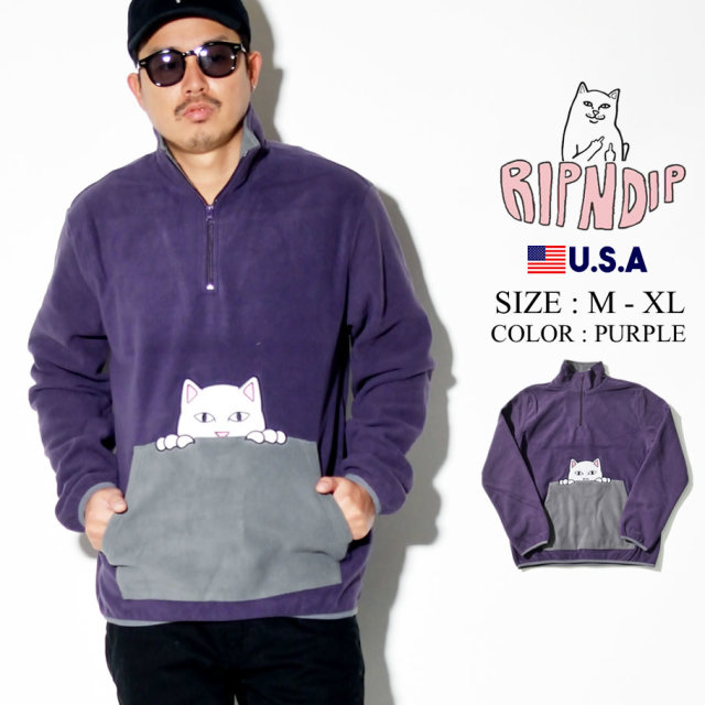 ripndip リップンディップ ハーフジップ トレーナー メンズ 猫 ネコ ストリート系 ファッション RND3904 服 通販
