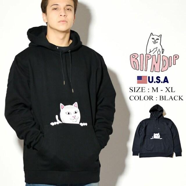 ripndip リップンディップ パーカー ポケット 猫 ネコ Peeking Nermal Hoodie RND4523