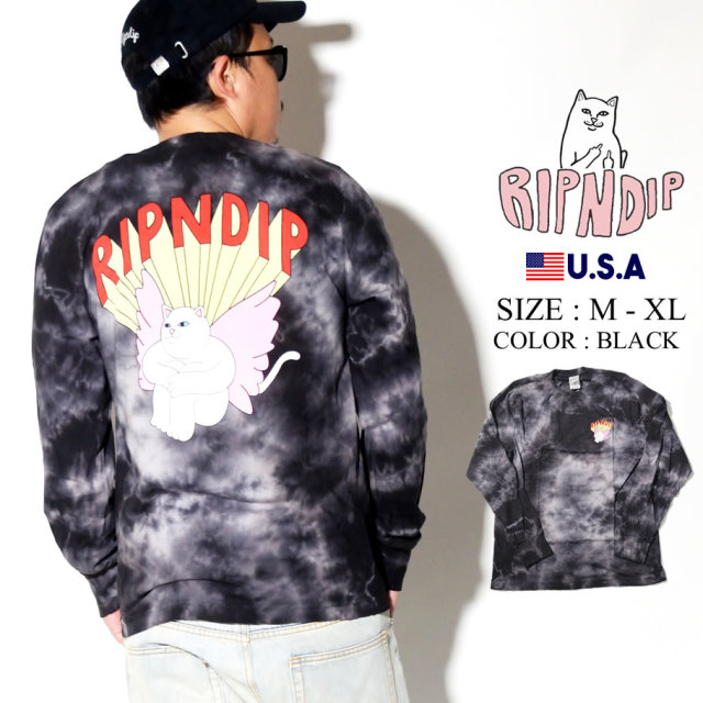 ripndip リップンディップ ロンT 長袖Tシャツ メンズ 猫 ネコ ネームロゴ ストリート系 ファッション RND3936 服 通販