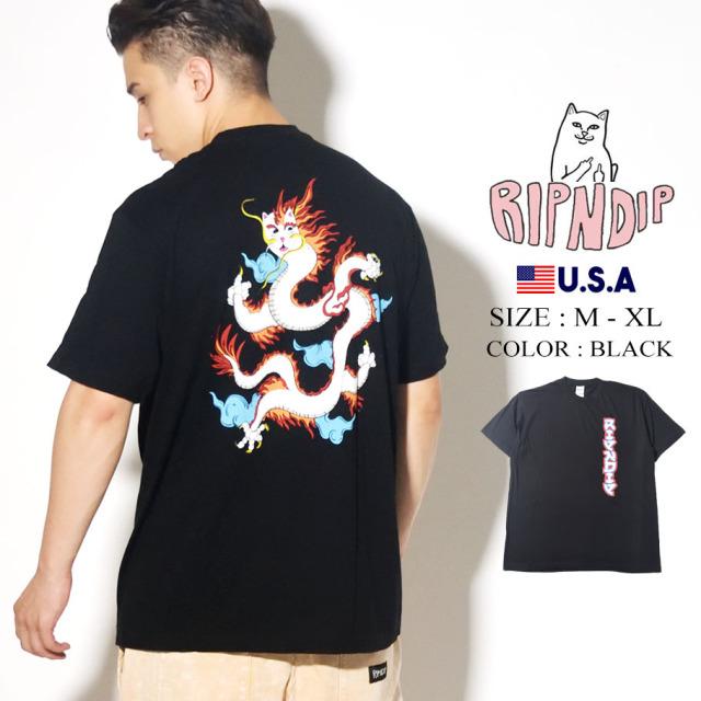 RIPNDIP リップンディップ Tシャツ 半袖 ドラゴン 龍 ネコ Dragonerm Tee RND4344