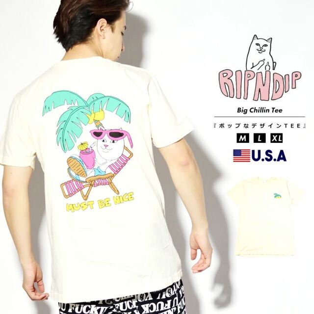 RIPNDIP リップンディップ Tシャツ メンズ レディース 半袖 猫 ネコ Big Chillin Tee RND4962 春夏 新作
