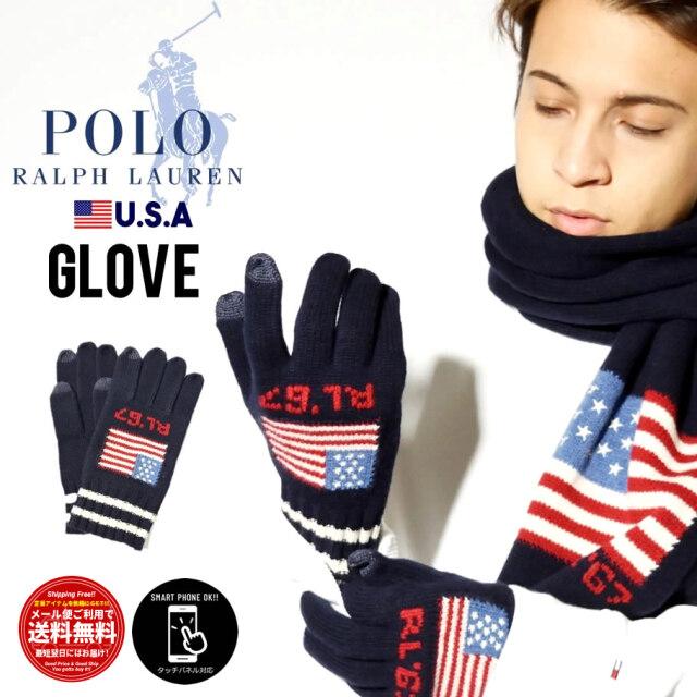 ポロラルフローレン Polo Ralph Lauren 手袋 メンズ スマホ対応 5本指 USAモデル RLフラッグメリノタッチグローブ  PC0661