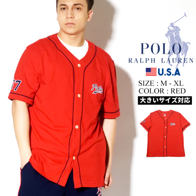 Polo Ralph Lauren ポロ ラルフローレン ベースボールシャツ メンズ ネイビー SHORT SLEEVE BASEBALL PJ TOP PK61SR