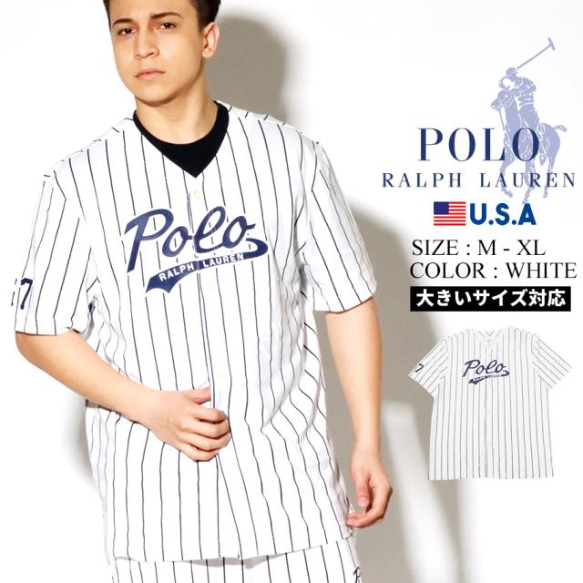 Polo Ralph Lauren ポロ ラルフローレン ベースボールシャツ メンズ ホワイト ストライプ SHORT SLEEVE BASEBALL PJ TOP PK61SR