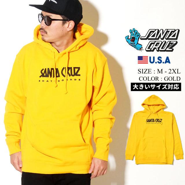 SANTA CRUZ (サンタクルーズ) プルオーバー パーカー ゴールド AD STRIP P/O HOODED HEAVYWEIGHT SWEATSHIRT (44252032)