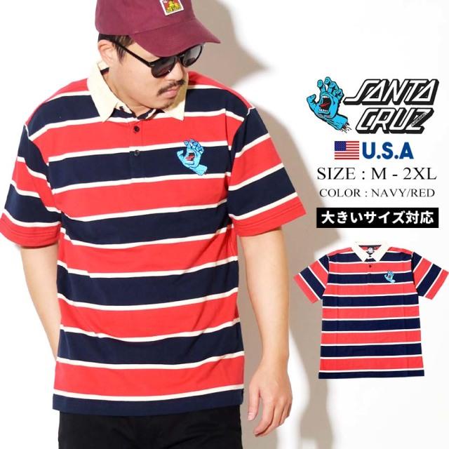 SANTA CRUZ (サンタクルーズ) ポロシャツ 半袖 ボーダー ネイビーレッド RUGGER S/S POLO TOPS (44642726)