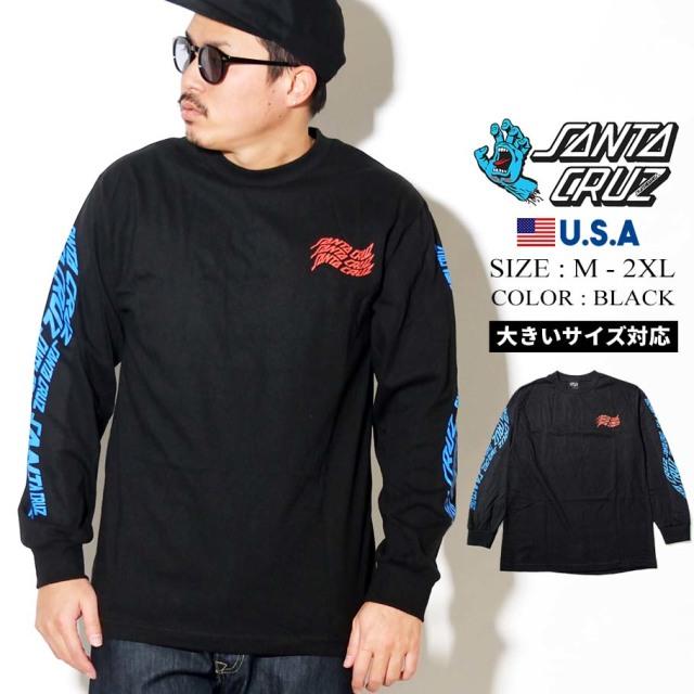 SANTA CRUZ (サンタクルーズ) 長袖Tシャツ ロンT ブラック VORTEX HAND L/S REGULAR T-SHIRT (44154625)