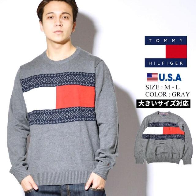 トミーヒルフィガー TOMMY HILFIGER クルーネックコットンニットセーター メンズ USAモデル TOMMY FLAG FAIRISLE 78J1020