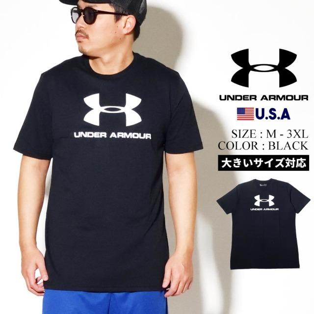 UNDER ARMOUR アンダーアーマー 半袖 Tシャツ メンズ UA SPORTSTYLE LOGO SHORT SLEEVE 1329590 ブラック