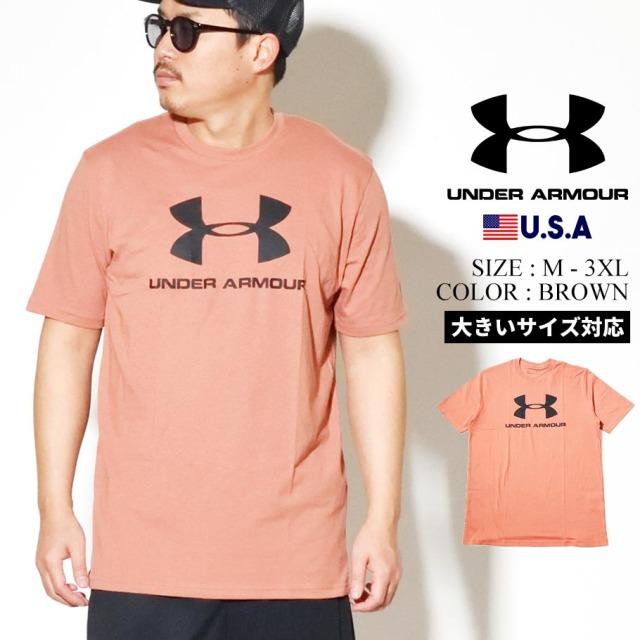 UNDER ARMOUR アンダーアーマー 半袖 Tシャツ メンズ UA SPORTSTYLE LOGO SHORT SLEEVE 1329590 ブラウン