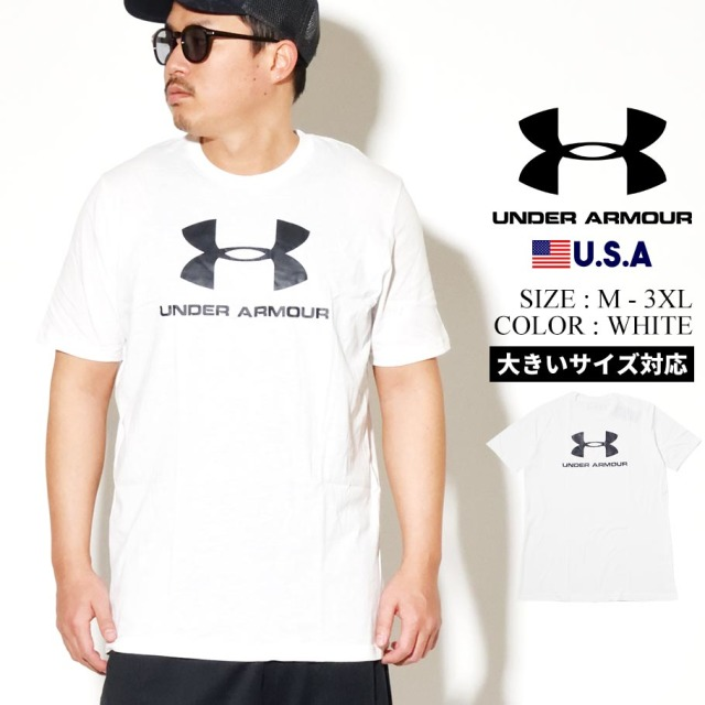 UNDER ARMOUR アンダーアーマー 半袖 Tシャツ メンズ UA SPORTSTYLE LOGO SHORT SLEEVE 1329590 ホワイト