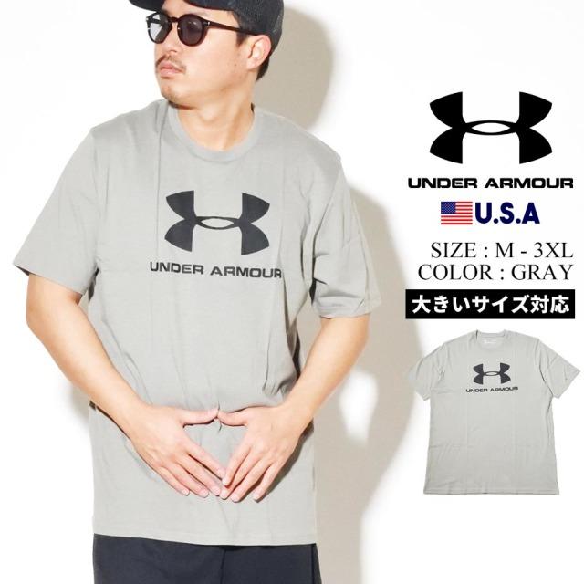 UNDER ARMOUR アンダーアーマー 半袖 Tシャツ メンズ UA SPORTSTYLE LOGO SHORT SLEEVE 1329590 グレー