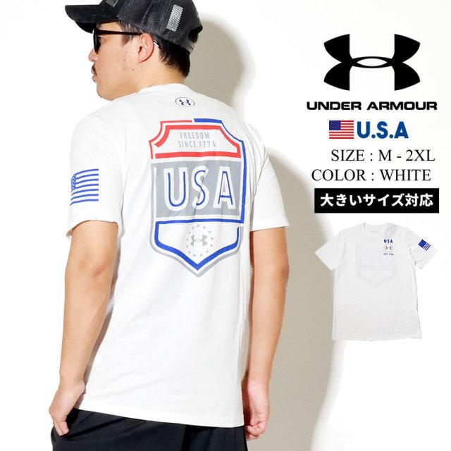 UNDER ARMOUR アンダーアーマー 半袖 Tシャツ メンズ UA FREEDOM USA EMBLEM ホワイト