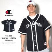 CHAMPION チャンピオン ベースボールシャツ BRAIDED BASEBALL JERSEY ブラック (T0897)