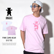 GRIZZLY グリズリー 半袖Tシャツ PINK CAMO BEAR S/S TEE (GMB1801P31)